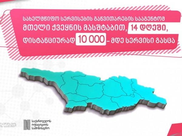 სახელმწიფო სერვისების განვითარების სააგენტომ მთელი ქვეყნის მასშტაბით, 14 დღეში, დისტანციურად 10 000-მდე სერვისი გასცა